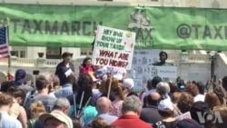 美国各地集会游行 呼吁川普总统公布报税表