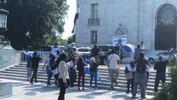 Protestas contra canciller de Nicaragua en OEA