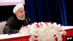 Iranian President Hassan Rouhani speaks during