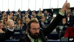 FILE - European lawmaker Jozsef Szajer of Hungary.