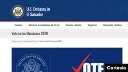 Imagen tomada del portal web de la embajada de EE.UU. en El Salvador.