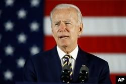 In this June 17, 2020, photo, Democratic presidential candidate, former Vice President Joe Biden speaks in Darby, Pa.