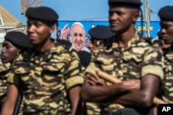 Mozambique soldiers undergo security preparations ahead of the Pope's visit in Antananarivo, Sept. 3, 2019.