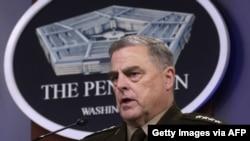마크 밀리 미국 합참의장이 지난 6일 워싱턴 국방부 청사에서 기자회견을 했다.