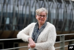 Professor Sharon Peacock poses for a photograph at the Wellcome Sanger Institute that is operated by Genome Research in Cambridge, March 4, 2021.