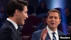 Konzervativni lider Endru Šir i vođa liberala Džastin Trudo u debati, 7. oktobra 2019.