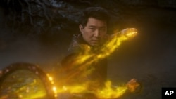 This image released by Marvel Studios shows Simu Liu in a scene from 'Shang-Chi and the Legend of the Ten Rings.'
