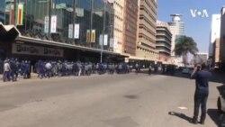 Zimbabwe Police Patrol Empty Street, As Demonstrators Disperse