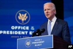 جو بایدن رئیس جمهوری منتخب دقایقی پیش از ایالت دِلاور سخنرانی کوتاهی داشت.