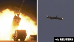 The Academy of National Defense Science conducts long-range cruise missile tests in North Korea, as pictured in this combination of undated photos supplied by North Korea's Korean Central News Agency (KCNA) on Sept. 13, 2021.