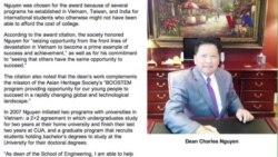 Giáo sư Mỹ gốc Việt nhận Giải thưởng Cơ hội 2014