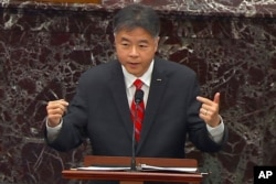 In this image from video, House impeachment manager Rep. Ted Lieu, D-Calif., speaks during the second impeachment trial of former President Donald Trump at the U.S. Capitol in Washington, Feb. 11, 2021.