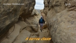 Narrow Passageway at Chaco Opens onto Ancient Vista