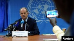FILE - David Shearer, then the U.N.'s head of mission in South Sudan, speaks during a news conference in Juba, South Sudan, March 9, 2020.