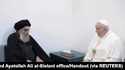 Ayatollah Ali al-Sistani iyo POPE Francis -IRAQ