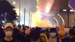 香港示威者聚集上環 無懼催淚彈