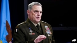 FIE - Chairman of the Joint Chiefs of Staff Gen. Mark Milley speaks during a briefing at the Pentagon, May 6, 2021.