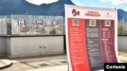Exposición fotográfica de la campaña Las Caras de la Migración, de la Cruz Roja Colombiana, seccional Bogotá y Cundinamarca. [Foto: Cortesía Cruz Roja]