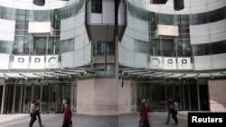 位於英國倫敦的英國廣播公司(BBC)總部入口。(資料照,2015年7月16日)