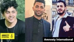 Fotografije trojice ljudi osuđenih na smrt zbog učešća na antivladinim protestima u novembru 2019. S leva nadesno: Saeid Tamđidi, Mohammad Rađabi i Amir Hosein Moradi. (Foto: Amnesti Internešenal)