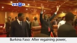 VOA60 Africa- Burkina Faso: President Michel Kafando says he will resume the oversight of the country's transition to democracy.