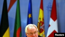 FILE - Christopher Patten, then-European Commissioner for External Relations, speaks at the 5th Euro-Mediterranean Conference in Valencia, Spain, April 22, 2002.