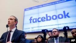 Tổng Giám đốc Mark Zuckerberg của Facebook điều trần trước một ủy ban của Hạ viện Mỹ ở Washington, tháng 10/2019.