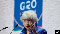 美國財政部長耶倫7月11日在意大利舉行的20國財長和央行行長會議期間在記者會上講話。