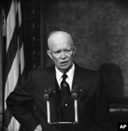 FILE - President Dwight Eisenhower speaks during a news conference in Washington, Dec. 10, 1958.