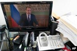 El canciller ruso Sergey Lavrov se dirige a la Asamblea General, pero por videoconferencia.
