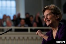 FILE - Democratic 2020 U.S. presidential candidate Elizabeth Warren delivers a speech in Boston, Massachusetts, Dec. 31, 2019.
