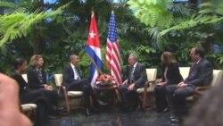 استقبال رسمی از رئیس جمهوری آمریکا در کوبا، دیدار کاسترو و اوباما