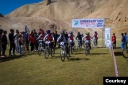 Competitors are seen at the start point of the Hindukush Mountain Bike Challenge, started by Farid Noori and his team of Afghan bikers with the aim of empowering Afghan youth. (Courtesy - MTB Afghanistan)