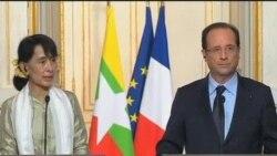 法国总统奥朗德保证支持缅甸民主过渡