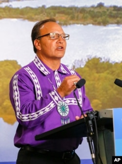 Chief of Choctaw Nation Gary Batton speaks during a press conference with the Chickasaw Nation governor at the Oklahoma Heritage Center in Oklahoma City, Aug. 11, 2016.