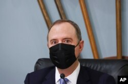 Chairman Adam Schiff, D-Calif., looks on before a House Intelligence Committee hearing on Capitol Hill in Washington, April 15, 2021.