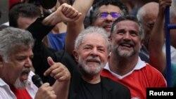 Former Brazilian President Luiz Inacio Lula da Silva gestures after being released from prison, in Sao Bernardo do Campo, Brazil, Nov. 9, 2019.