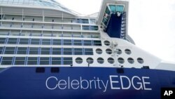 The Celebrity Edge is moored at Port Everglades, June 26, 2021, in Fort Lauderdale, Fla. Celebrity Edge is the first cruise ship to leave a U.S. port since the coronavirus pandemic brought the industry to a 15-month standstill.