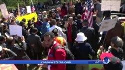 تجمع مخالفان فرمان ترامپ برای لغو ویزای شهروندان کشورهای مسلمان و واکنش دولت