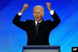 Democratic presidential candidate Joe Biden speaks during a Democratic presidential primary debate at Saint Anselm College in Manchester, New Hampshire, Feb. 7, 2020.