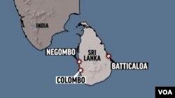 Peta Sri Lanka (foto: ilustrasi). Kebakaran terjadi di sebuah kapal tanker minyak besar di lepas pantai timur Sri Lanka, Kamis (3/9).