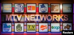 FILE - Various logos of the different cable channels from the MTV Networks are pictured at the Cable Television Critics Association press tour in Pasadena, California, July 13, 2006.