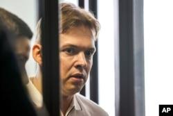 Maxim Znak, Belarus' opposition activist and lawyer of Maria Kolesnikova, attends a court hearing in Minsk, Belarus, Aug. 4, 2021.