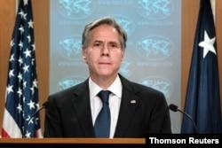 Menlu AS Anthony Blinken dakam pengarahann untuk media terkait situasi di Afghanistan, di Washington D.C. (Foto: dok).