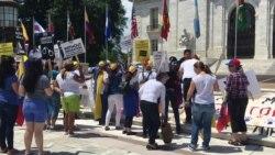 Manifestantes venezolanos frente a sede de OEA