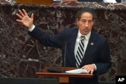 In this image from video, House impeachment manager Rep. Jamie Raskin, D-Md., speaks during the second impeachment trial of former President Donald Trump at the U.S. Capitol in Washington, Feb. 11, 2021.