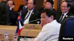 FILE - Philippines President Rodrigo Duterte is seen at the U.S.-ASEAN Summit in Manila, Philippines. Nov. 13, 2017.