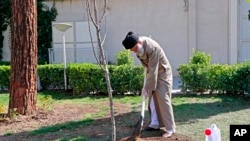 In this photo released by an official website of the office of the Iranian supreme leader, Supreme Leader Ayatollah Ali Khamenei participates in a tree planting ceremony in Tehran, Iran, March 3, 2020.