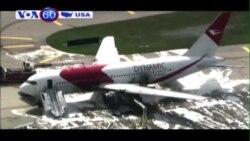 Máy bay bốc cháy trên đường bay, 21 người bị thương (VOA60)