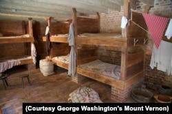 Reconstruction of the men's bunkroom in the greenhouse slave quarters at Mount Vernon in Alexandria, Virginia. (Courtesy George Washington's Mount Vernon)